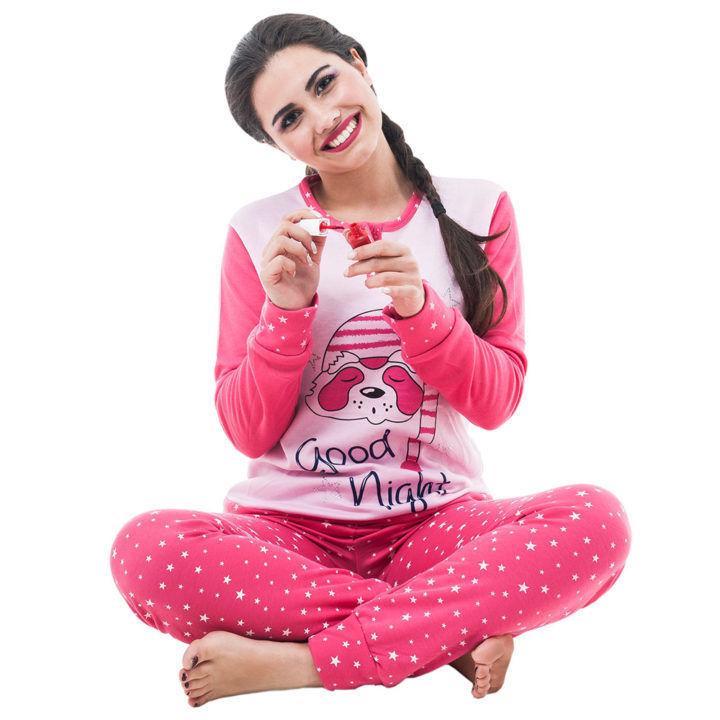 Γυναικεία βαμβακερή πυτζάμα «Good Night»