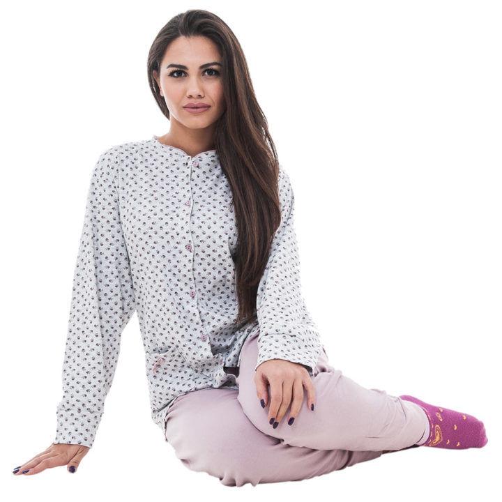 Πυτζάμα γυναικεία βαμβακερή γκρι -ροζ Karelpiu