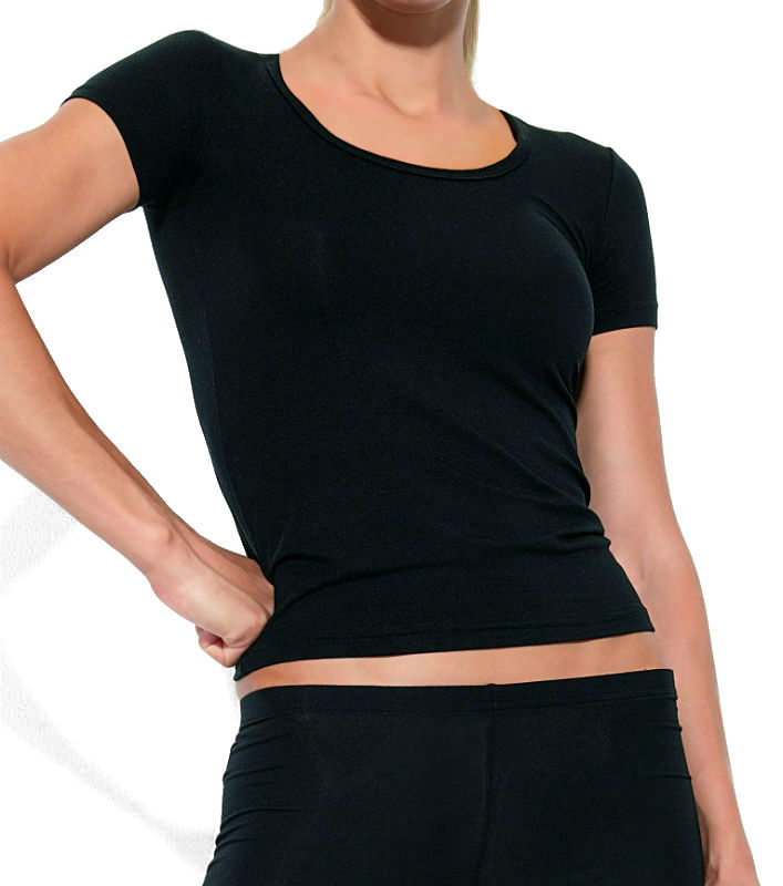 664b44eb1710 Apple γυναικείο μαύρο φανελάκι με κοντό μανίκι και βαθιά λαιμόκοψη