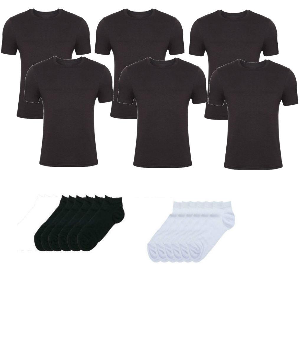 Πακέτο ανδρικές μαύρες κοντομάνικες φανέλες 6 τεμάχια με 3 ζεύγη κοφτές κάλτσες σε λευκό & 3 ζεύγη σε μαύρο