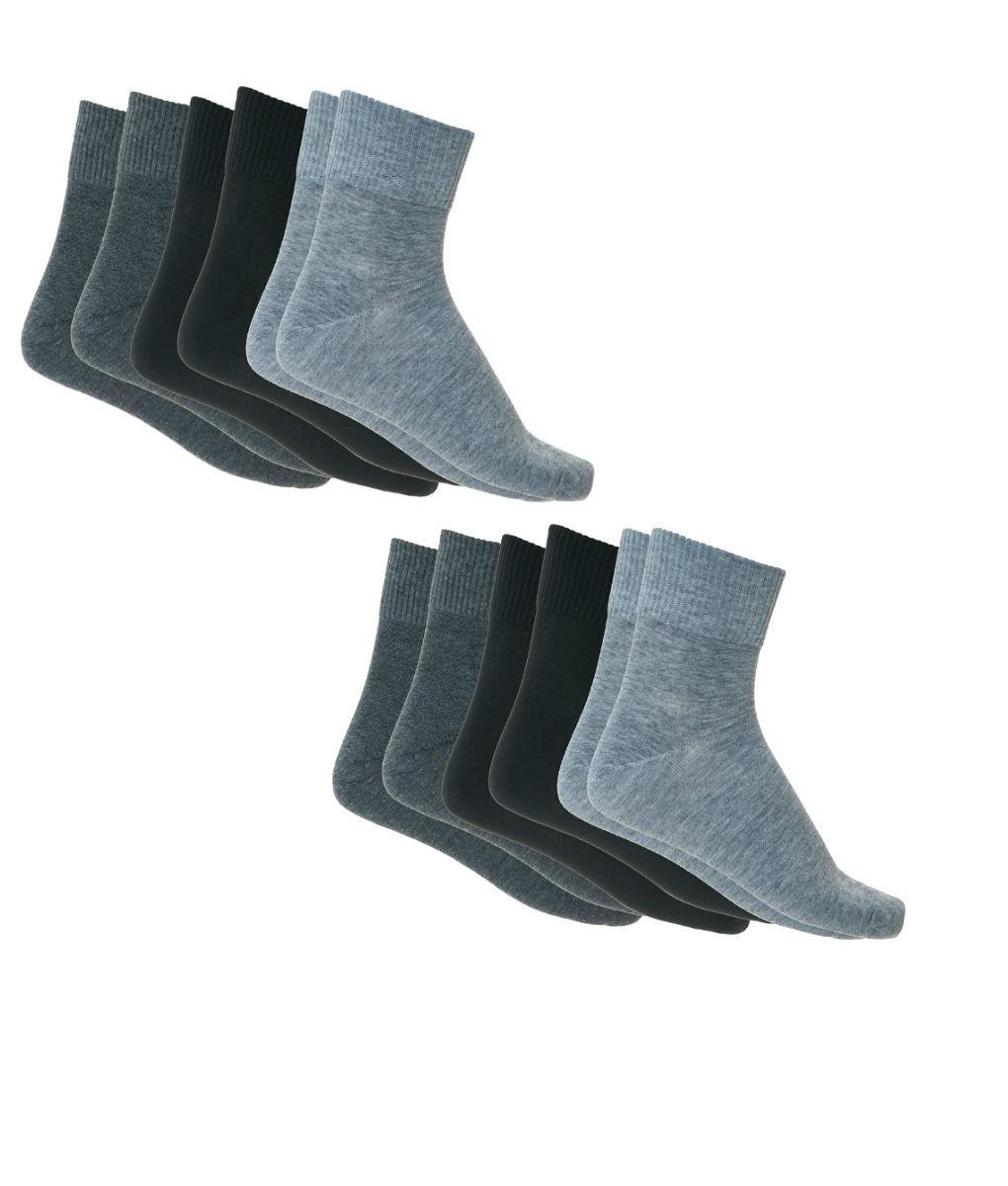 08bab8da3b36 6 ζεύγη ανδρικές βαμβακερές ημίκοντες κάλτσες σε Μαύρο-Γκρι-Ανθρακί.