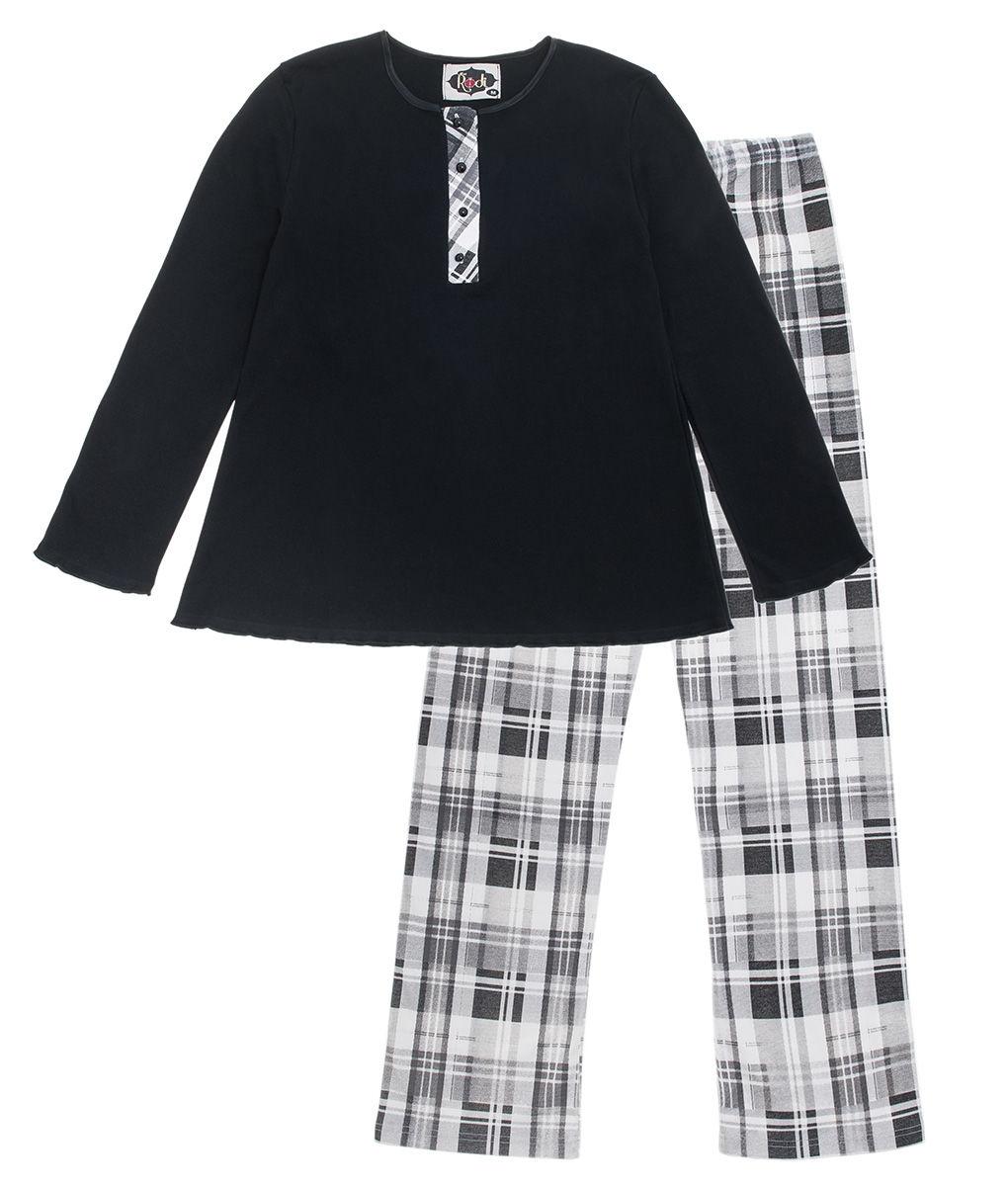 4e259217915 Γυναικεία πυτζάμα βαμβακερή μαύρη με καρώ παντελόνι - Per mia Donna