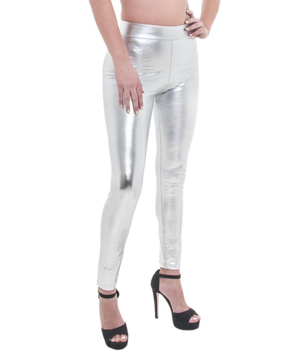 74597d0714af Κολάν γυναικείο σε ασημί χρώμα leather look Lovely Girl - Per mia Donna