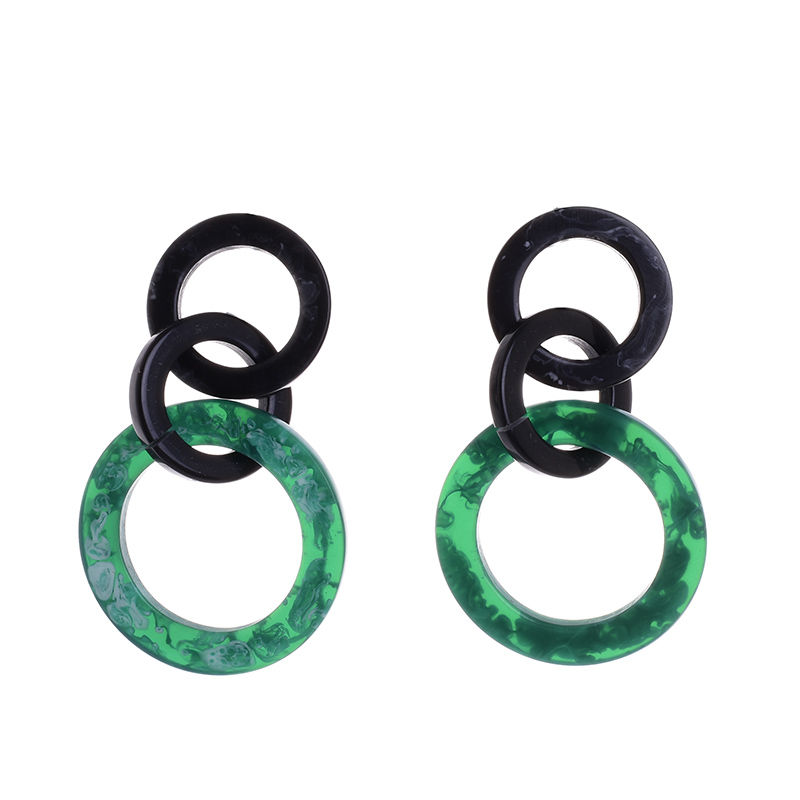 Γυναικεία κοκάλινα σκουλαρίκια κρίκοι μαύρο και πράσινο