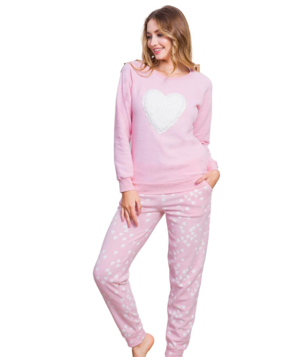 Ροζ γυναικεία πυτζάμα fleece με σχέδιο