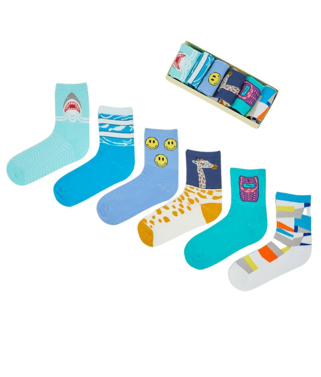 Μπλε και Σιέλ Unisex κάλτσες με σχέδια 6 pack